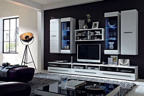 white gloss wall units living room inspirations and brw
