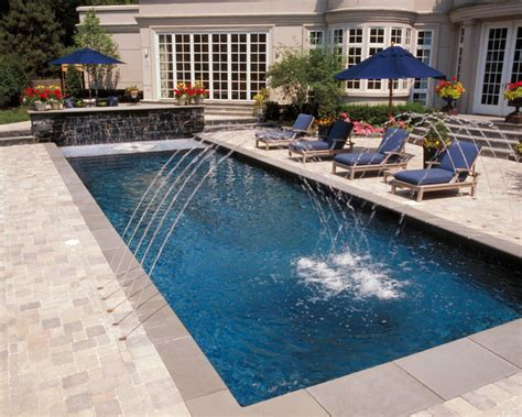 Mediterranean Style Bedroom Furniture - winnetka il european lap pool with raised wall and fountains mediterranean pool chicago