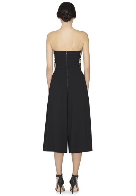 beaded jumpsuit lyst emberly beaded gaucho jumpsuit in black