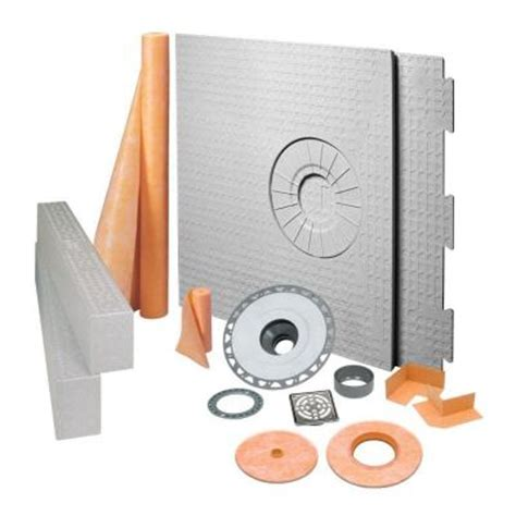 schluter kerdi shower 32 in x 60 in off center shower kit in pvc with stainless steel drain