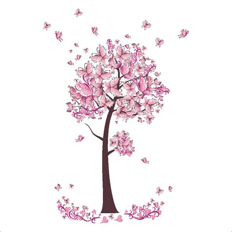pink butterfly wall stickers pink butterfly tree flowers vinyl wall sticker decal diy