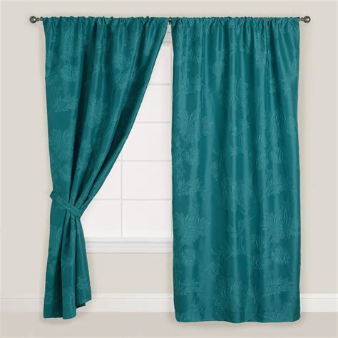 woven curtains teal woven jasleen sleevetop curtain world market