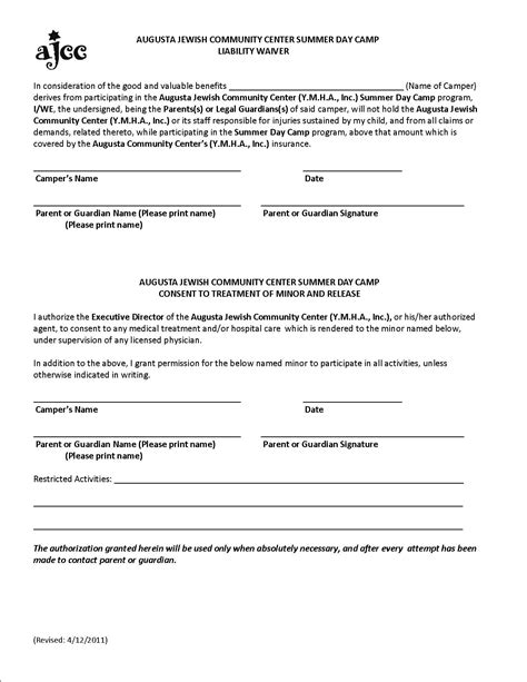 liability waiver form template waiver of liability forms