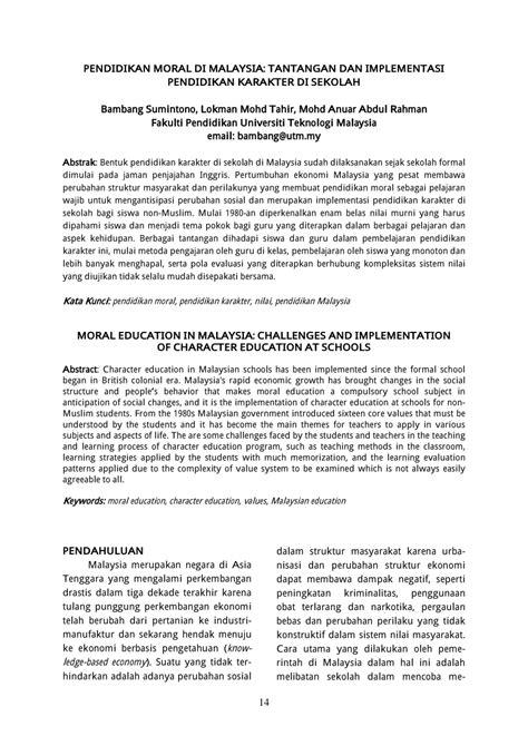 (PDF) Pendidikan Moral di Malaysia: Tantangan dan Implementasi Pendidikan Karakter di Sekolah