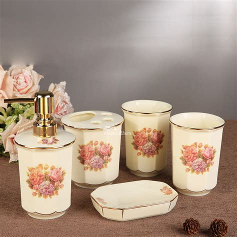 Enamel Bathroom Accessories 5 Floral Bathroom Accessories Set Ceramic Floral Enamel