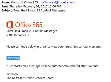 ccex alert: new office 365 phishing scam | ccex
