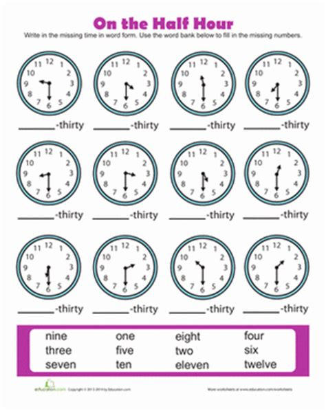 clock worksheets on the hour time to the half hour worksheet education com