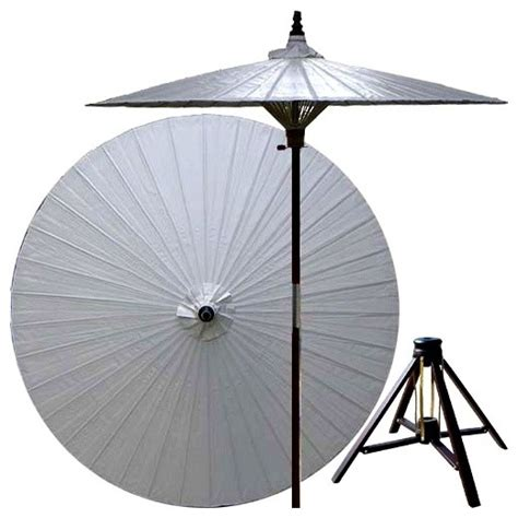 Bamboo Patio Umbrella 7 Ft Lychee Patio Umbrella W Bamboo Sta Asian Outdoor Umbrellas By Shopladder