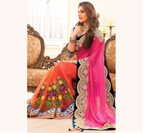 Online Shopping Of Home Decor Items India by Designer Embroidery Shari With Blouse Piece Sc 73