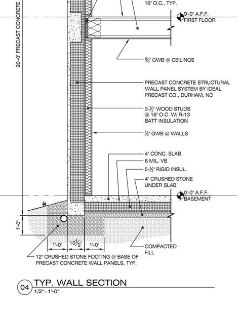 Concrete Wall Section Detail   Construction Information