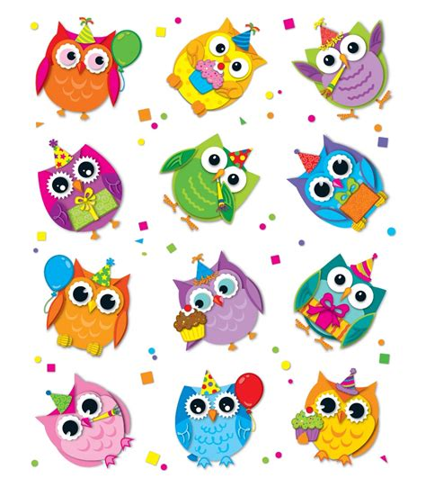 printable owl birthday chart celebrate with colorful owls shape stickers grade pk 5