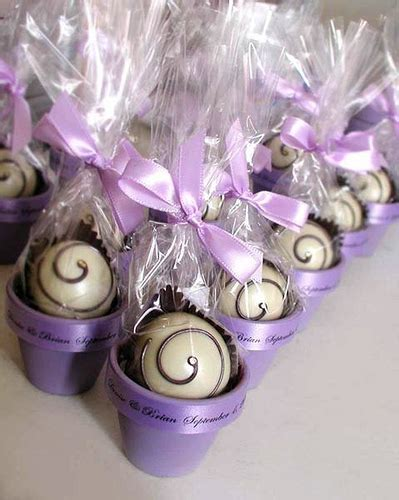 bridal shower favor ideas purple chocolate wedding truffles in a flower pot this is a flickr