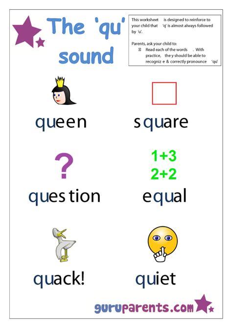 5 Letter Qu Words beginning sounds worksheets guruparents