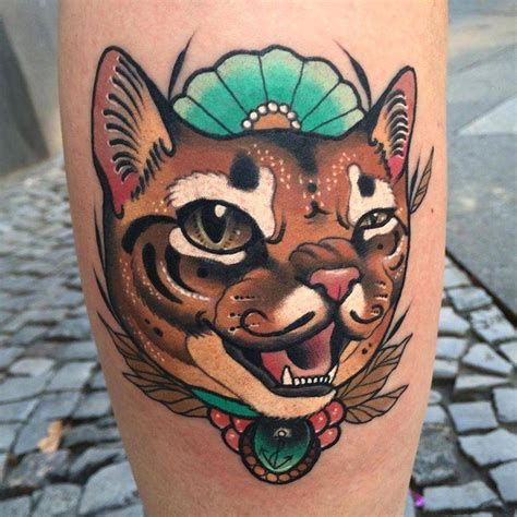 neo trad cat tattoo neotraditional cat tattoo on the left calf