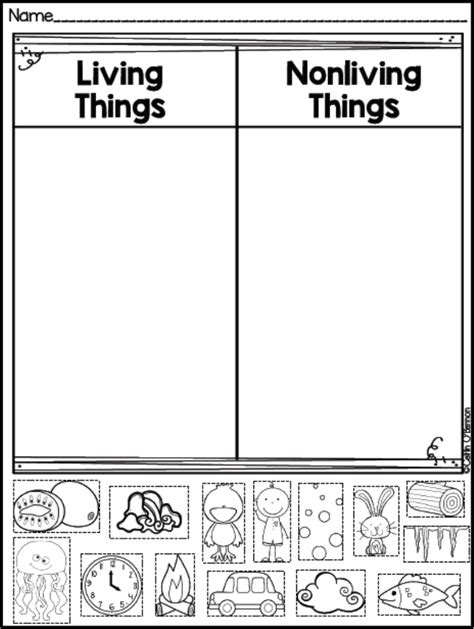 Living And Nonliving Things Worksheets Pdf by Freebie Living And Non Living Things Sort Teaching