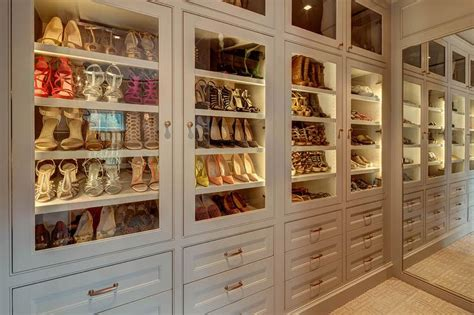 shoe closet with doors glass shoe shelves design ideas
