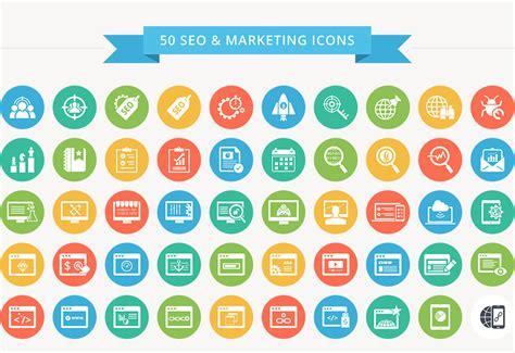 color icon 50 seo marketing flat color icon set free seo icons