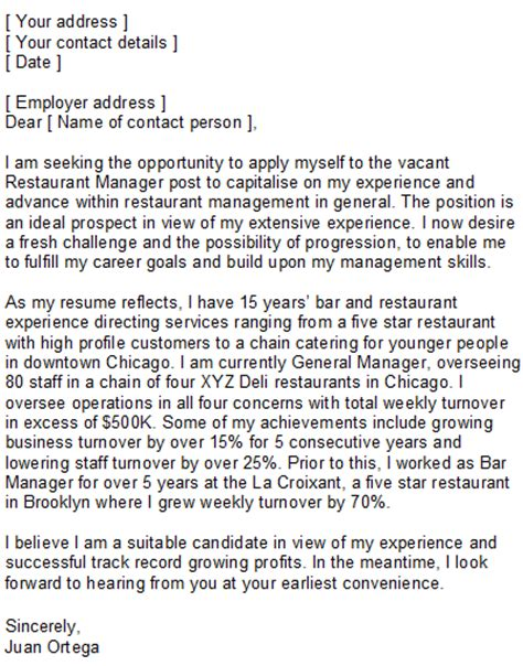 restaurant manager resume cover letter sle restaurant manager covering letter