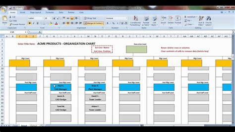 Excel Organization Chart Template Demonstration Youtube Chart Excel Template
