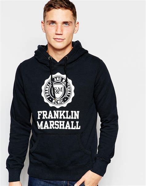 Jaket Zipper Hoodie Sweater Franklin Marshall Navy 1 franklin marshall overhead hoodie tracksuit top in blue for lyst