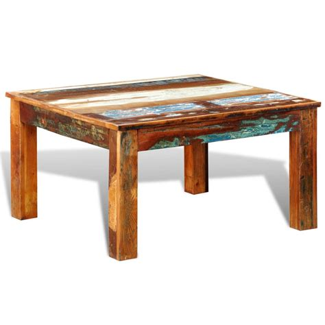 Reclaimed Coffee Tables Vidaxl Co Uk Reclaimed Wood Coffee Table Square Antique Style