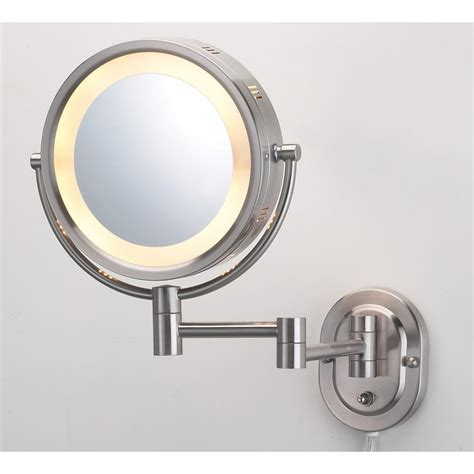 Kohler Lighted Mirror Jerdon 9 75 In X 13 75 In Lighted Wall Mirror In Nickel