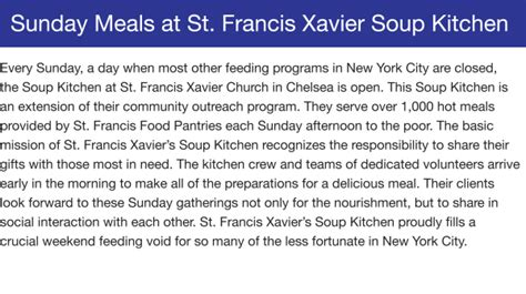 St Francis Soup Kitchen by St Francis Food Pantries Shelters Sunday Meals At St