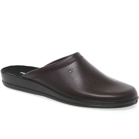 mens leather house shoes rohde mule leather slip on mens slippers rohde from charles clinkard uk