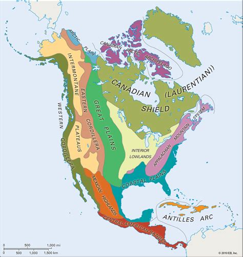 america map for students america physiographic regions students