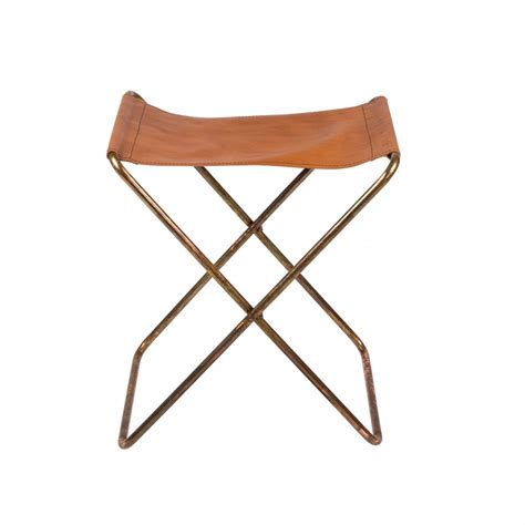 Leather Folding Stool by Leather And Iron Copper Finish Folding Stool Nola By