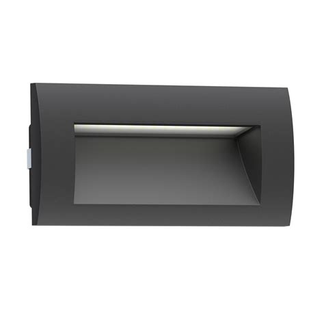 Outdoor Recessed Wall Lights Led Recessed Wall Light Zibal For Outdoor Black Warm White 140x70mm Ebay