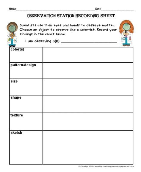 science observation template science isn t scary observation station 2 color