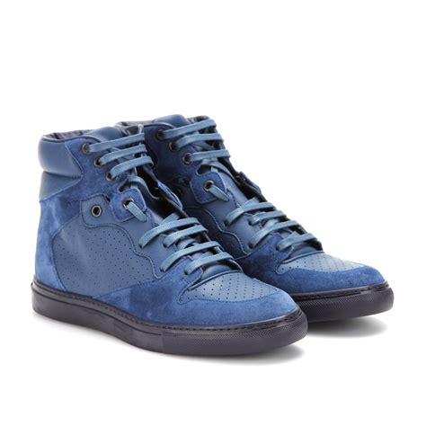 blue suede balenciaga sneakers balenciaga leather and suede hightop sneakers in blue lyst