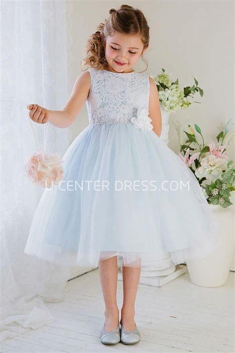 light blue tea dress floral tea length tiered tulle lace flower dress