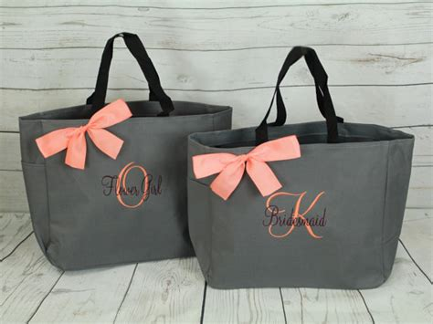 5 personalized tote bag bridesmaid gifts set of 5
