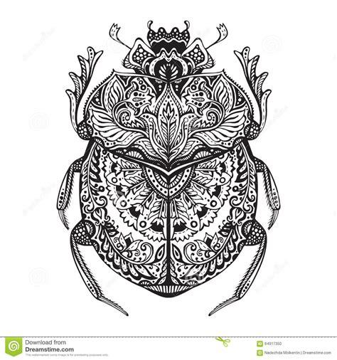 schwarzweiss hand gezeichneter zentangle stilisierter