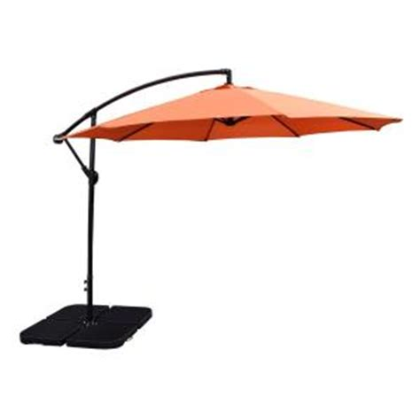 Patio Umbrella And Base 10 Ft Cantilever Patio Umbrella In Burnt Orange And 4