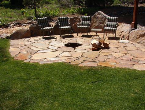 flagstone patio firepit