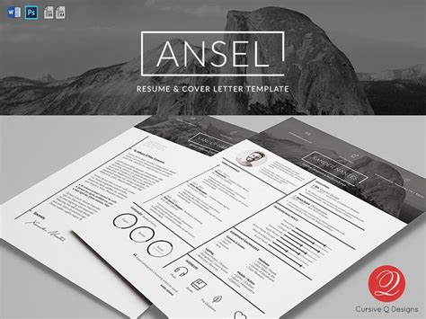 photoshop template letter ansel resume and cover letter template for photoshop