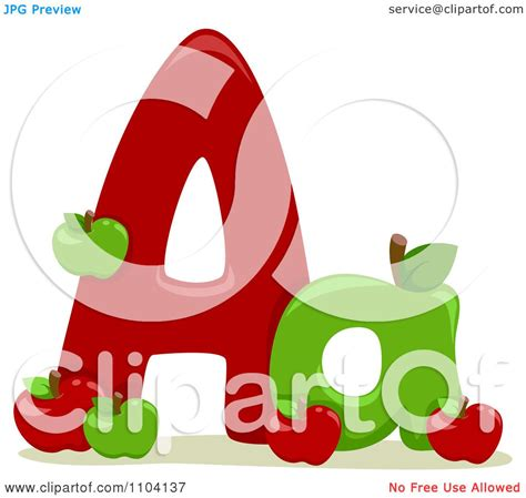 clipart capital and lowercase letter a with apples