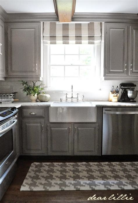 grey kitchen curtains dear lillie darker gray cabinets and our marble review