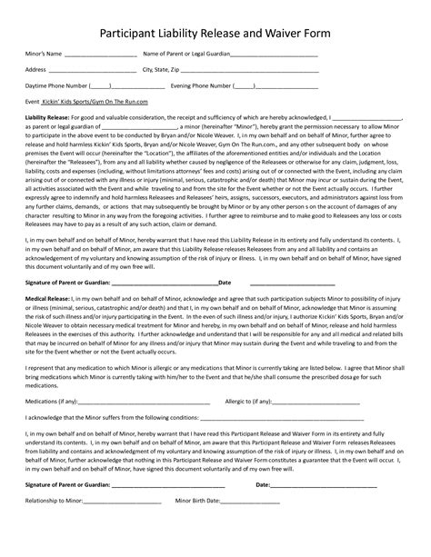 waiver form template for sports best photos of generic softball profile sheet player