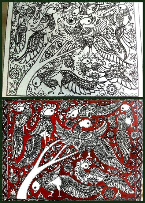 pattern art on canvas indian folk fusion kalamkari and madhubani painting on a
