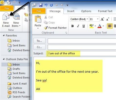 how to set away message in outlook