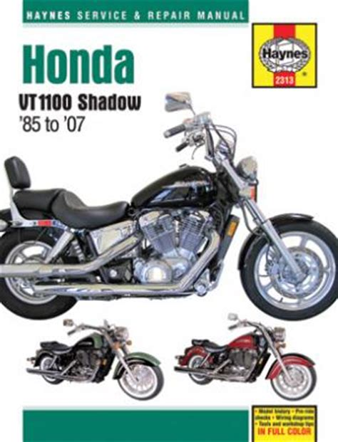 Honda Shadow Vt1100 Haynes Repair Manual 1985 2007