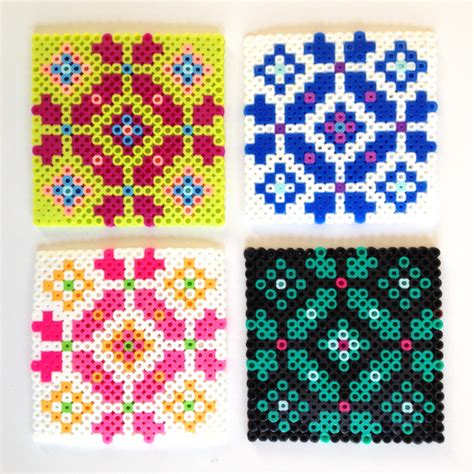 melty bead designs make scandinavian cross stitch hama bead coasters