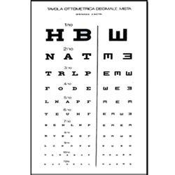 tabella oculistica lettere ottotipo tavola optometrica visita patente decimale
