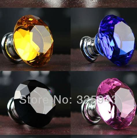 30mm colorful drawer pulls k9 door knobs and