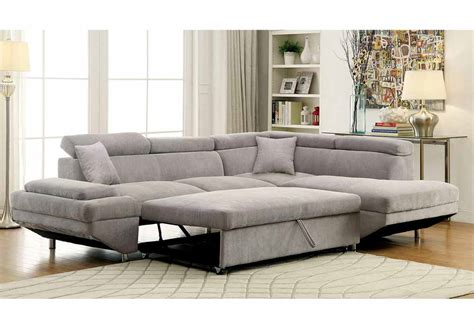 Pull Out Sectional Sofa Foreman Sectional Sofa Pull Out Sofa Bed Sleeper Flannelette Fabric Chaise Grey
