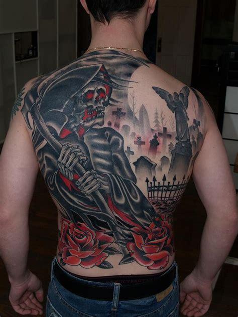 graveyard back tattoo grim reaper and cemetery back tattoo tattoomagz